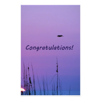 Congratulations purple sunset stationery