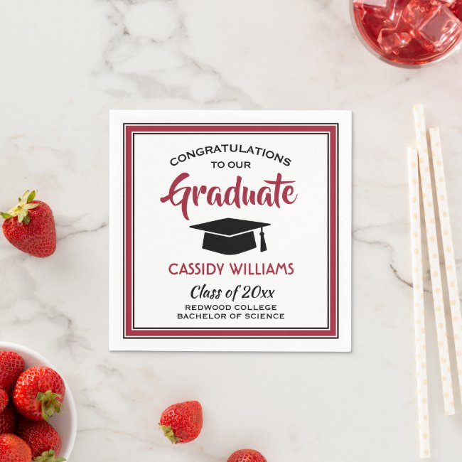 Congratulations Red Black White Modern Graduation Napkins