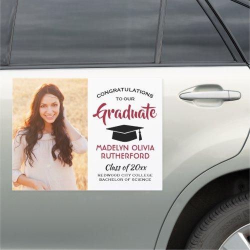 Congratulations Red Black White Photo Graduation Car Magnet