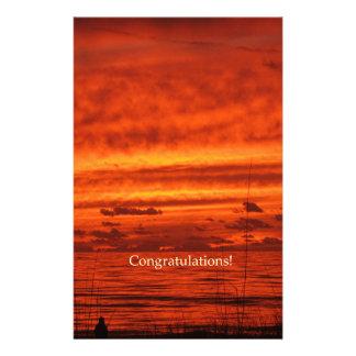 Congratulations Red Orange Firey Beach Sunset Personalized Stationery