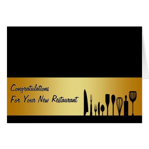congratulations restaurant new business card