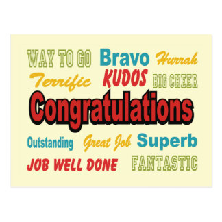 Congratulations Retro Colors Postcard