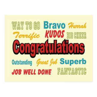Congratulations Retro Colors Postcard