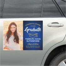 Congratulations Royal Blue Gold Photo Graduation Car Magnet