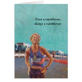 Congratulations Runner Card - Once a Marathoner