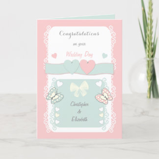 Congratulations shabby chic Wedding Day greeting Card