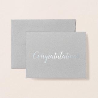 Congratulations Silver Foil Brush Brushstroke Foil Card