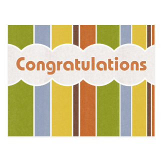 Congratulations - Stripes Post Card