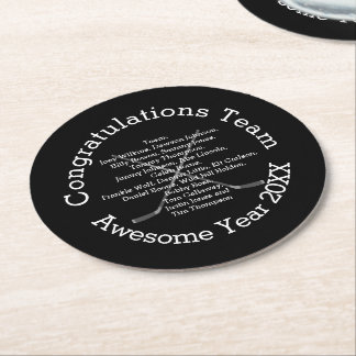 Congratulations Team with Team Names Round Paper Coaster