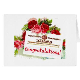 Congratulations Telegram Roses Vintage Postcard Card