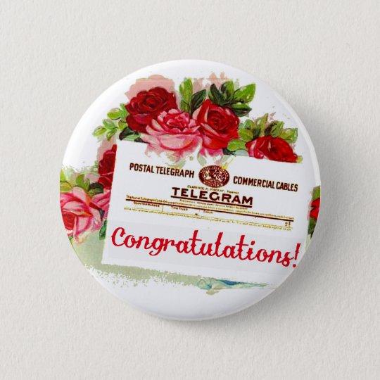 Congratulations Telegram Roses Vintage Postcard Button