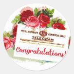 Congratulations Telegram Roses Vintage Postcard Classic Round Sticker