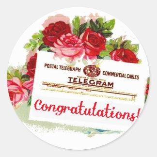 Congratulations Telegram Roses Vintage Postcard Stickers