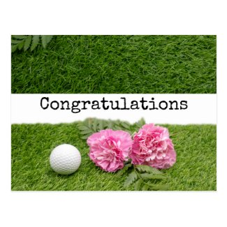 Congratulations to golfer with golf ball on green postcard