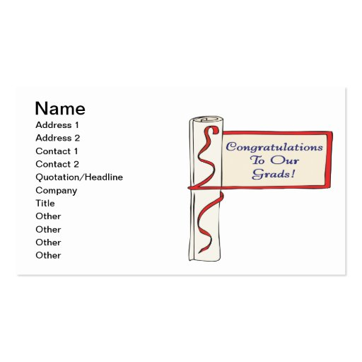 Congratulations To Our Grads Double-Sided Standard Business Cards (Pack Of 100)