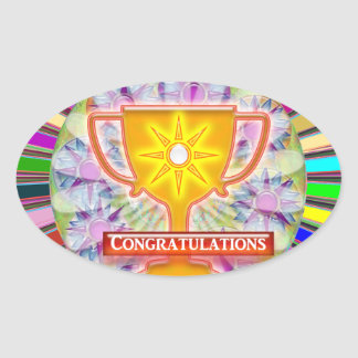 CONGRATULATIONS : Trophy and Sparkle Wheels Decor Oval Sticker