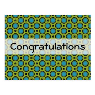 Congratulations Turquoise Green Postcards