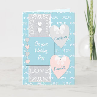 Congratulations turquoise Wedding Day greeting Card