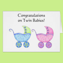 Congratulations Twin Babies Girl and Boy Card