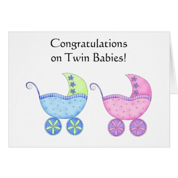 Toddler & Baby themed Congratulations Twin Babies Girl and Boy Card