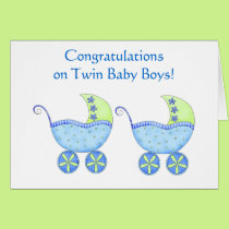 Congratulations Twin Baby Boys Blue Buggy Card