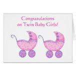 Congratulations Twin Baby Girls Pink Buggy Greeting Card