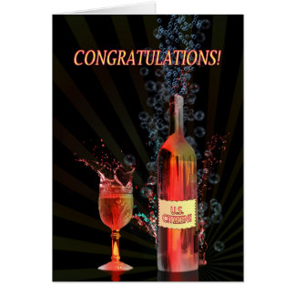 Congratulations US Citizen, with splashing wine Card