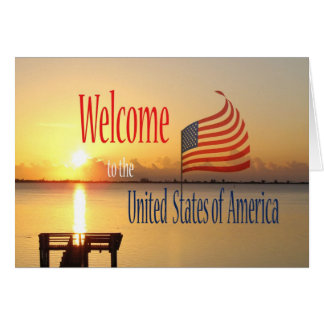Congratulations US Citizenship US Flag and Sunrise Card