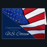 """Congratulations US Citizenship US Flag Card<br><div class=""""desc"""">Becoming a US Citizen is the accumulation of hard work and the fulfillment of dreams. Offer your congratulations to a new US citizen with this patriotic card featuring the US flag. Great for business.</div>"""
