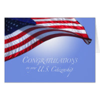 Congratulations US Citizenship US Flag Flying Sun Card