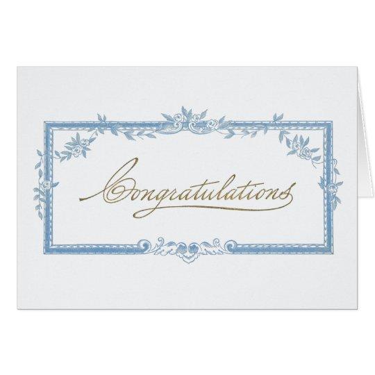 Congratulations! Vintage blue floral frame Card