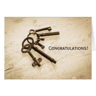 Congratulations Vintage Keys on Ring Greeting Card