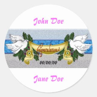 congratulations wedding classic round sticker