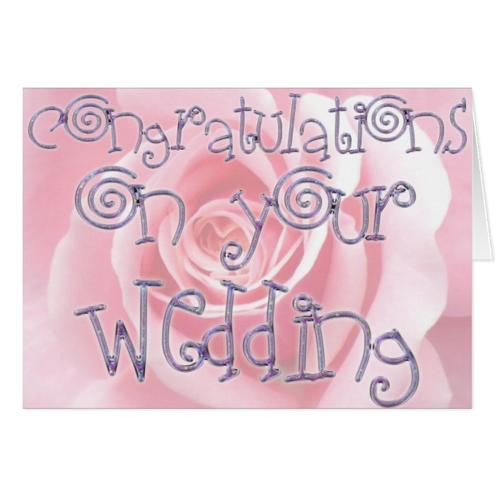 congratulations wedding typography soft pink rose card zazzle