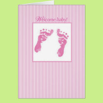 Congratulations, Welcome New Baby Girl, Footprints Card