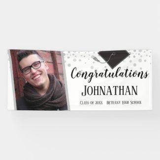Congratulations White Confetti Photo Graduation Banner