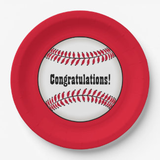Congratulations with Baseball Paper Plate