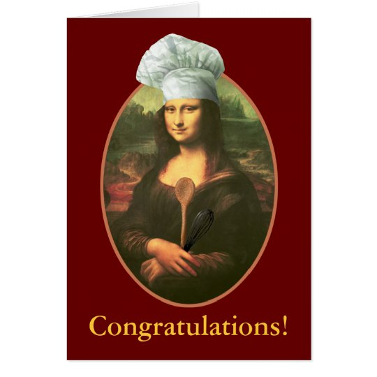 Congratulations with Mona Lisa Chef Card