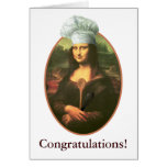 Congratulations with Mona Lisa Chef Greeting Cards
