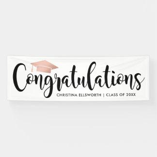 Congratulations with Rose Gold Cap | Graduation Banner