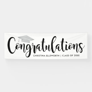 Congratulations with Silver Grad Cap | Graduation Banner