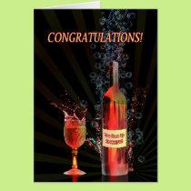 Congratulations with splashing wine card