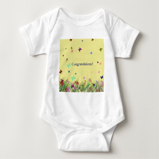 Congratulations  yellow butterfly background baby bodysuit