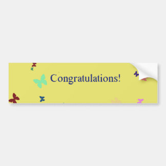 Congratulations  yellow butterfly background car bumper sticker