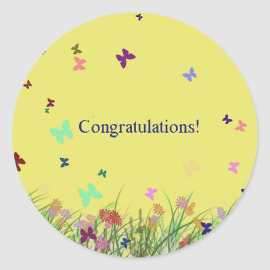 Congratulations  yellow butterfly background classic round sticker