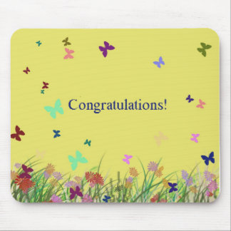 Congratulations  yellow butterfly background mouse pad