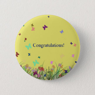 Congratulations  yellow butterfly background pinback button