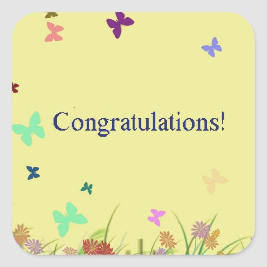 Congratulations  yellow butterfly background square sticker