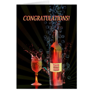 Congratulations you are single with splashing wine greeting card