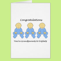 Congratulations you're Grandparents to triplet boy Card